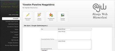 Alanya Web Tasarım Yönetim paneli